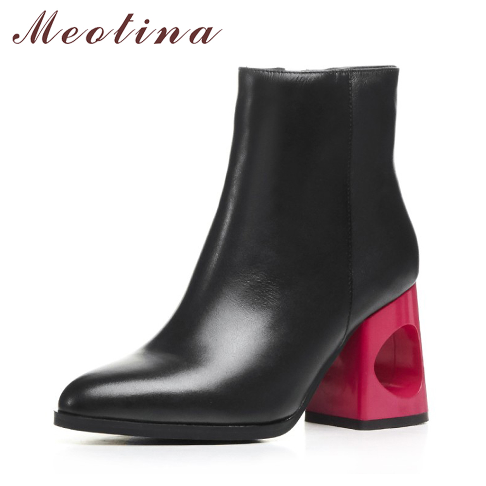 Meotina Genuine Leather Women Ankle Boots Winter Block High Heel Boots Leather Boots Pointed Toe Female Autumn Shoes Big Size 42 women boots 2017 autumn winter women s shoes pu leather ankle boots cowboy western pointed toe punk boots ladies big size