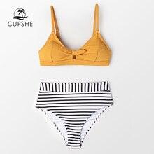 CUPSHE Sexy różowy streszczenie drukuj wysokiej talii trójkąt Bikini ustawia kobiety Halter dwa kawałki stroje kąpielowe 2019 dziewczyna plaża kostiumy kąpielowe
