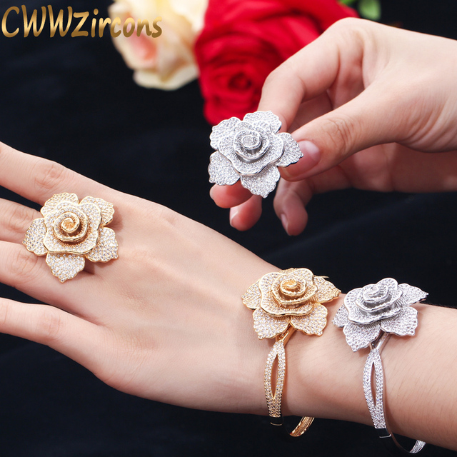 CWWZircons Luxury Cubic Zirconia Large Gold Geometric Flower Women Wedding Party Rings and Bangle Jewelry Sets for Brides T323