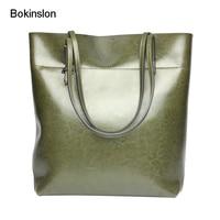 Bokinslon Woman Big Bags Split Leather Solid Color Ladies Shoulder Bags Simple Temperament Female Handbags High Quality