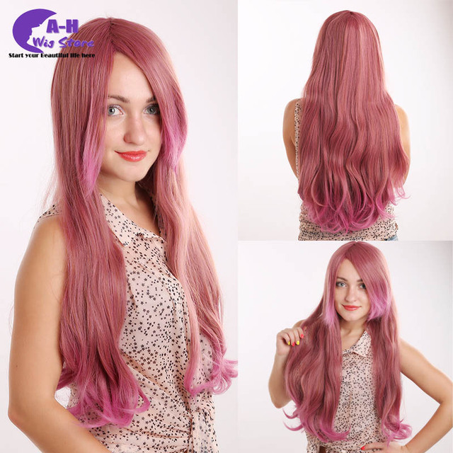 New Style Cosplay Wig Pink And Brown Mixed Color Long Natural Wavy Synthetic Young