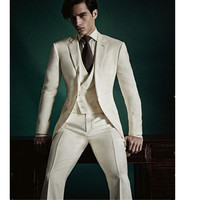 Custom Made Champagne Wedding Suits For Men Prom Tuxedo Slim Fit Groom Men Blazer 3 Piece Men Suits Jacket+Pant+Vest