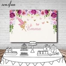 Sensfun Pink Purple Flowers Photography Backdrop Custom Text Fairy Butterfly Girls Birthday Party Backgrounds Photo Both Vinyl