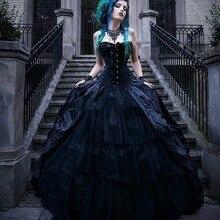 Vintage negro victoriano gótico vestidos de novia corsé sin tirantes vampiros estilo Punk país vestido de boda talla grande reinas malvadas