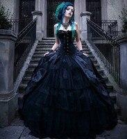 Vintage Black Victorian Gothic Wedding Dresses Corset Strapless Vampires Punk Style Country Wedding Dress Plus Size Evil Queens