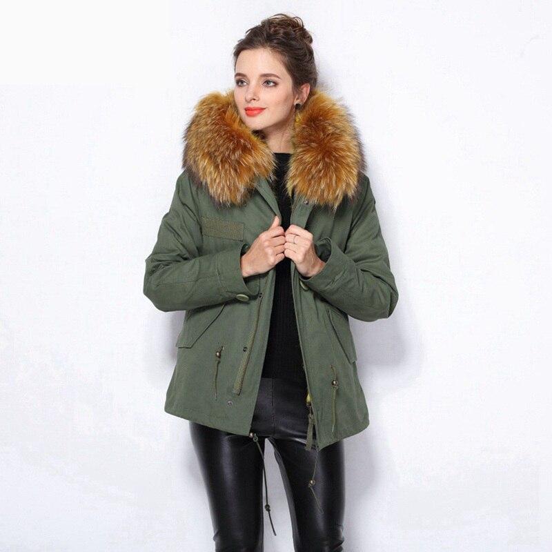 Fourrure Collier Épaisse Veste Naturel Outwear color Chaud De Laveur Manteau Vestes Doublure Taille 1 Raton Parka Femmes Plus Réel D'hiver Pour Lapin Color 2 qrrvX08