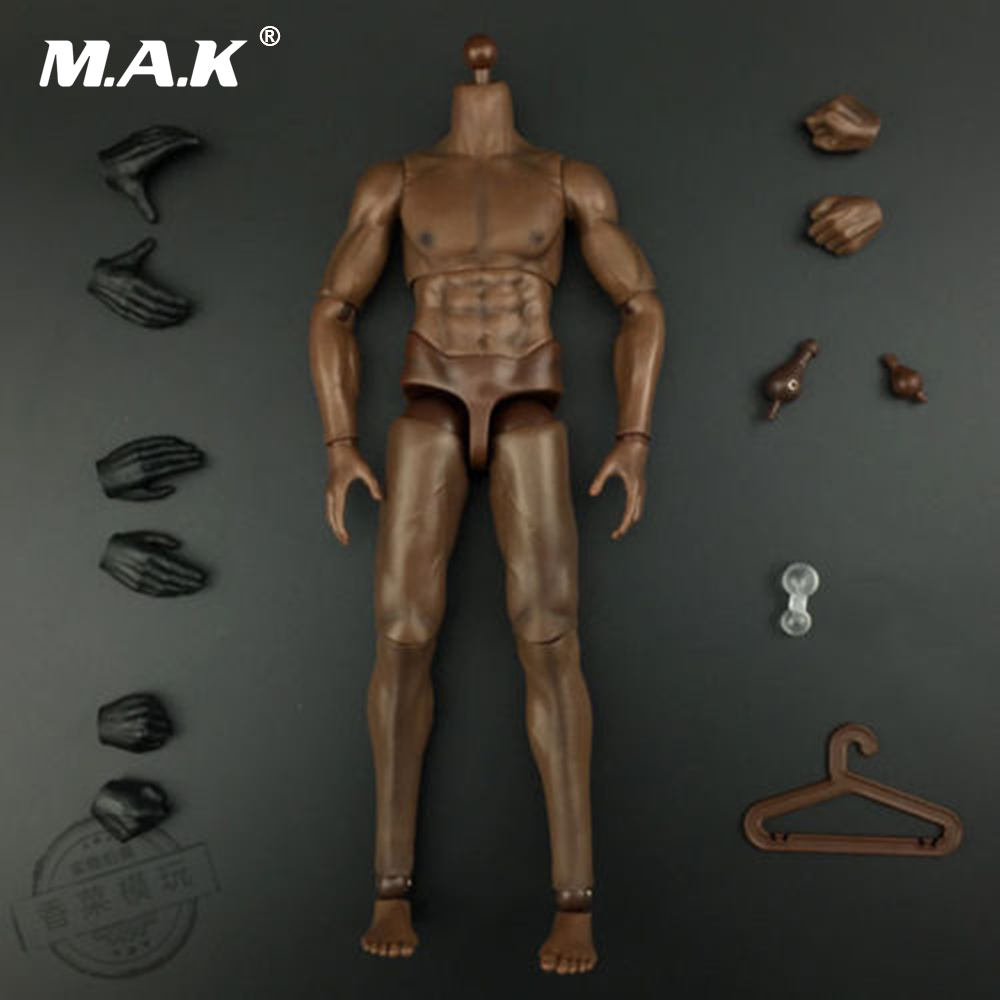 12 Inches Male Strong Bodies Brown Color For 1/6 Head Sculpt 1 6 scale ksk lrrp mens head sculpt for 12 inches male figures bodies