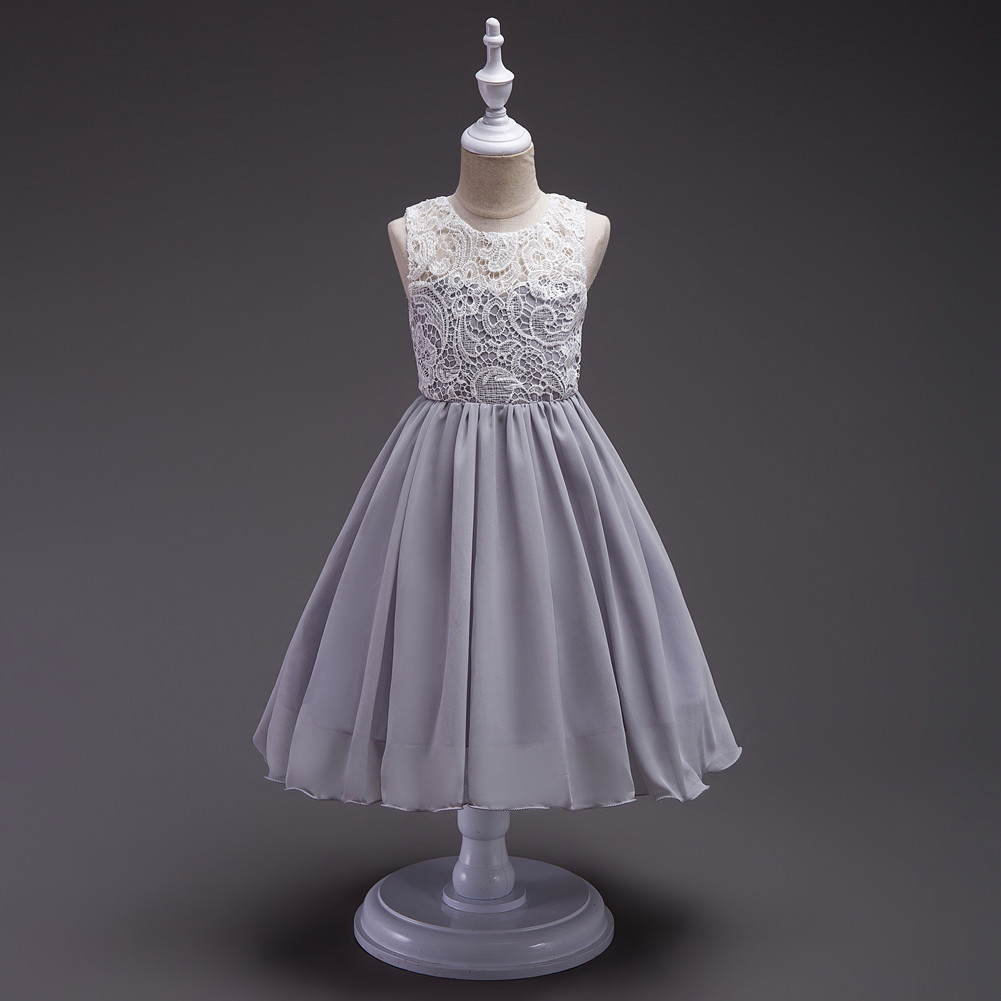 Flower Girl Chiffon Patchwork Elegant Party Dresses Size 3 5 6 7 8 9 10 11 12 13 Green Pink Blue Black Grey White Wedding Dress