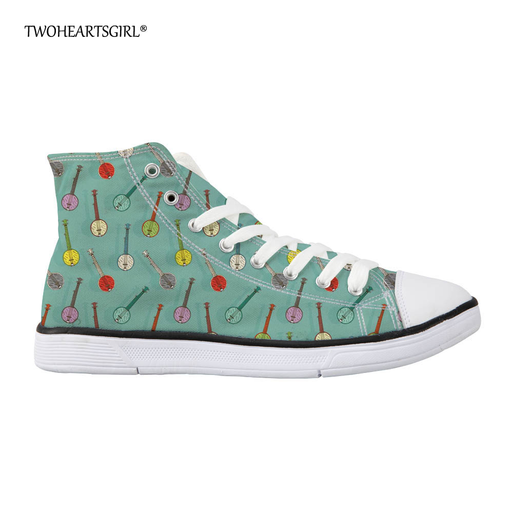 Twoheartsgirl Mint Green Banjo Pattern High Top Canvas Shoes Casual Female Women Vulcanize Shoes Novelty Ladies Walking Shoes e lov women casual walking shoes graffiti aries horoscope canvas shoe low top flat oxford shoes for couples lovers