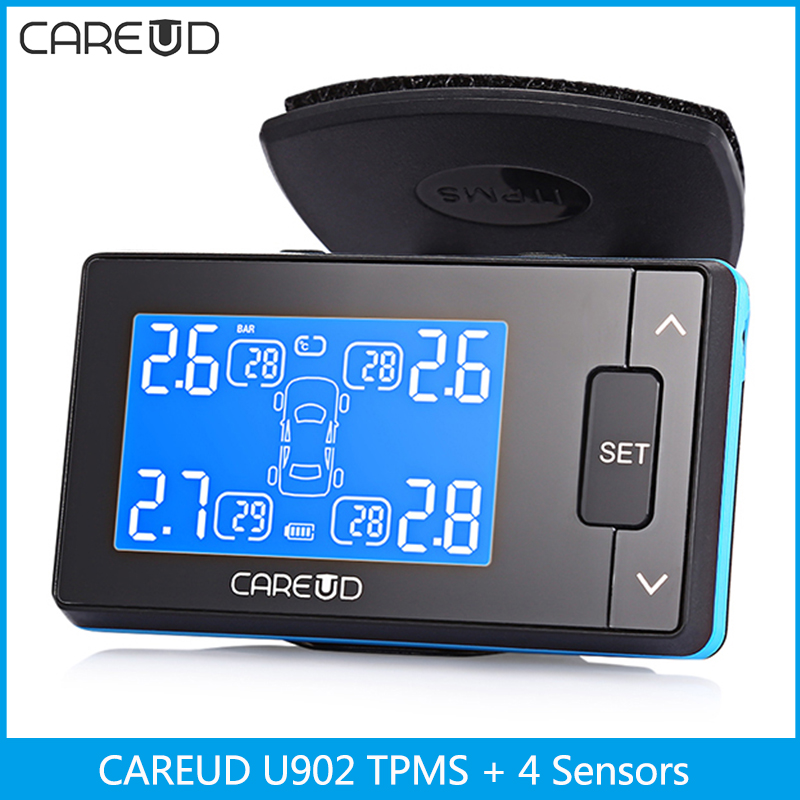 CAREUD U902 Car TPMS Tire Pressure Monitoring Alarm System with 4 Sensors Internal External Sensors for Choose Car Alarm System car tire pressure gauge tire pressure gauge with gas air pressure gauge for car fit for motorcycle bicycle type measure meter