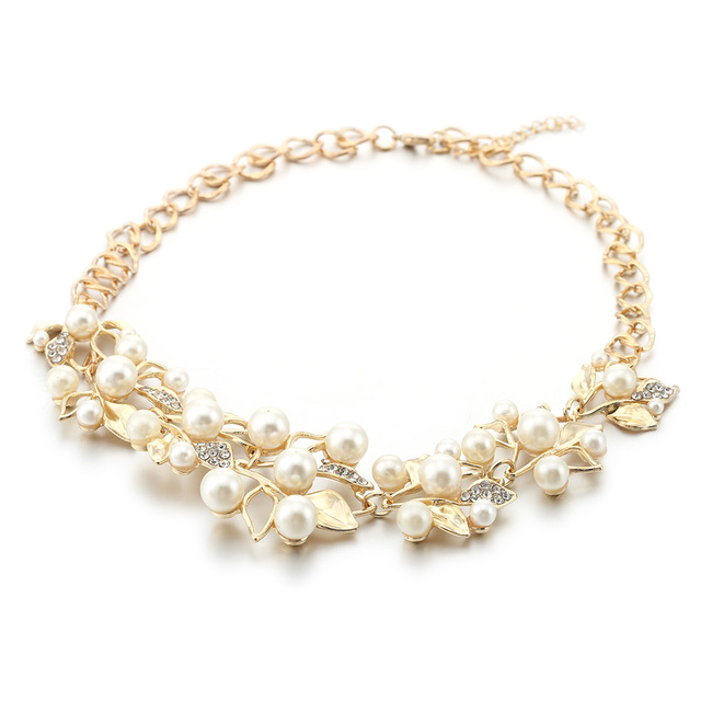 Simulated Pearl  Leaves Statement Necklace