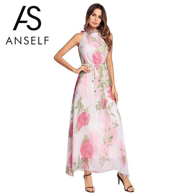 b4bfd2f2f48f Sexy Women Chiffon Maxi Dress Floral Print High Neck Sleeveless Belt  Sundress Beach Long Gowns Ladies Summer Dress 2019 Vestidos