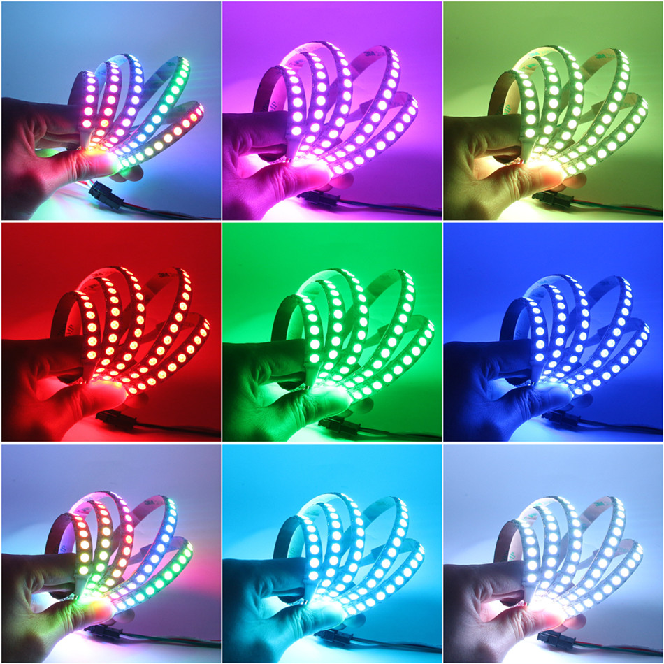 BEILAI 1 M 2 M WS2812B bande de LED étanche 30 60 144 LED s DC 5 V RGB lumière LED couleur de rêve bandes flexibles WS2812 IC avec