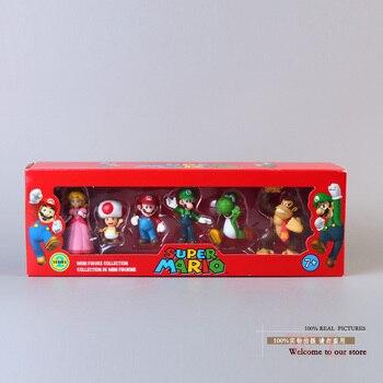 Super Mario Bros Peach Daisy Toad Mario Luigi Wario Yoshi Koopa Donkey Kong  PVC figura de acción muñecas 6 unids set 5 tipos f9c72b2bb12
