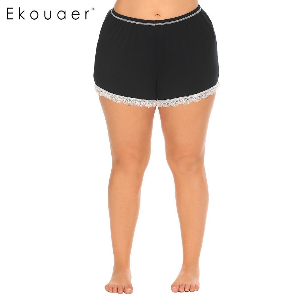 Ekouaer Women Sleep Bottom Pants Nightwear Soft Lace Trim Elastic Waist Plus Female Pajamas Short Pants Sleepwear Plus Size 2