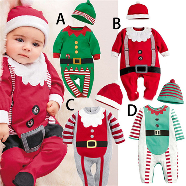 17404d6c887a1 Cosplay Autumn Winter Children's Christmas Costume Santa Christmas Elf  clothes Newborn Baby Jumpsuits kids bodysuit costumes
