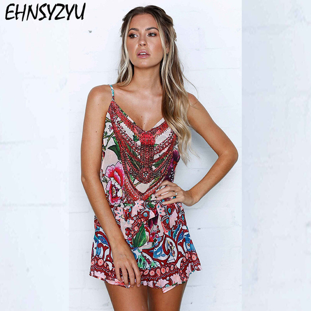 32bd3c7f6f9 Sexy Women Spaghetti Strap Playsuits Rompers Plunge V Neck Jumpsuits Summer  Floral Print Ruffles Backless Bodysuits Overalls