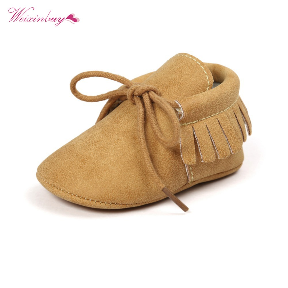 WEIXNIBUY Boy Girl Soft Moccs Fringe Soft Soled Non-slip Footwear Shoes PU Suede Leather Tassel Newborn Baby Moccasins