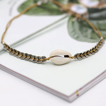 Womens simple wild natural shell short necklace alloy handmade rope woven clavicle chain