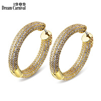 DreamCarnival1989 Gold color Cubic Zircon Width 3.2cm Round Luxury Jewelry Classic Wedding Outfit Hoop Fashion Earrings SE14140