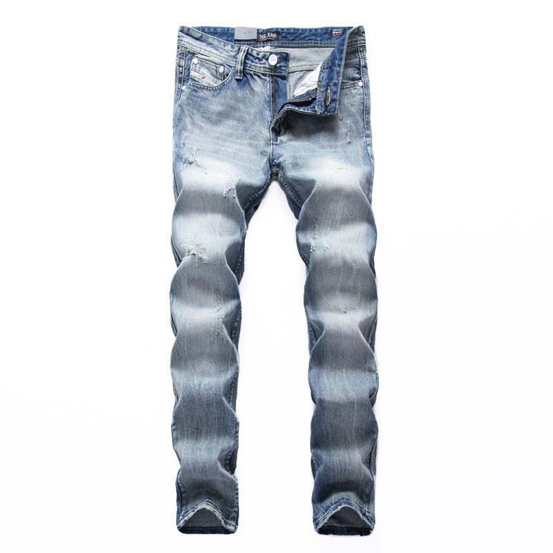 White Washed Italian Designer Men   Jeans   High Quality Dsel Brand Straight Fit Distressed Ripped   Jeans   For Men,100% Cotton B981