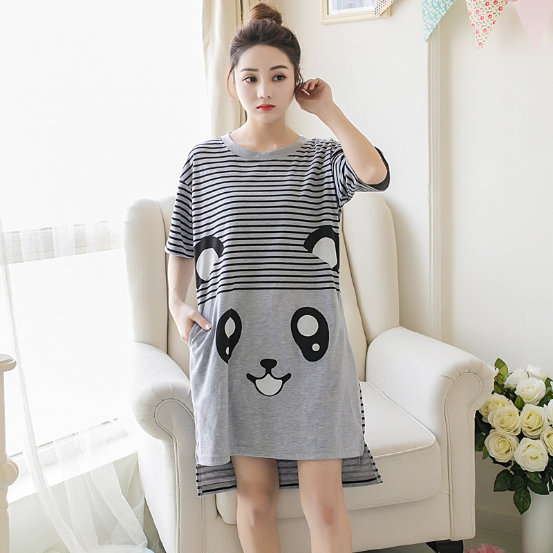 Summer Cotton Women Nightgown Female Cute  Sleepwear Pregnant Lady Sleepshirt & Casual Home Clothes Plus Size M-5XL Nightgown