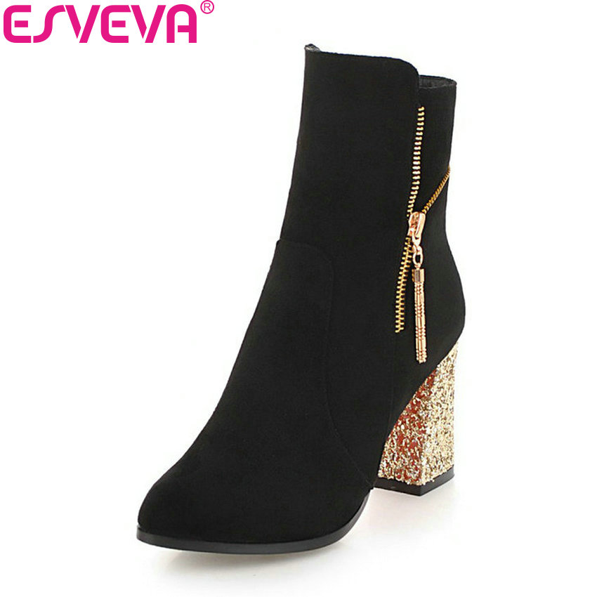 ESVEVA 2019 Women Pointed Toe Square Heels Boots Shoes Ankle Boots High Heels Zipper Autumn Shoes Flock Boots Woman Size 34-43 memunia ankle boots for women high heels shoes woman pointed toe fashion boots female party flock solid big size 34 43