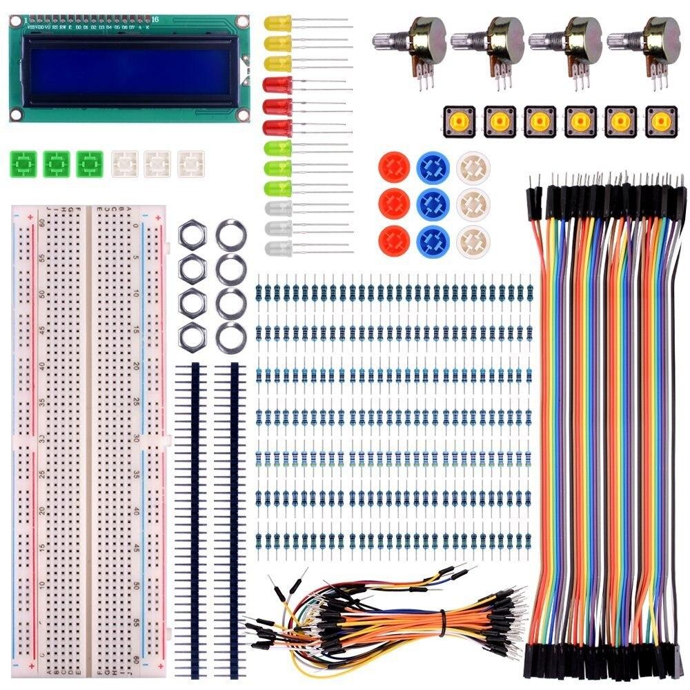 For raspberry pi 3 Basic Starter Kit with Switch Led LCD Resistors for diy electronic kit new basic starter learning kit upgrade version for arduino