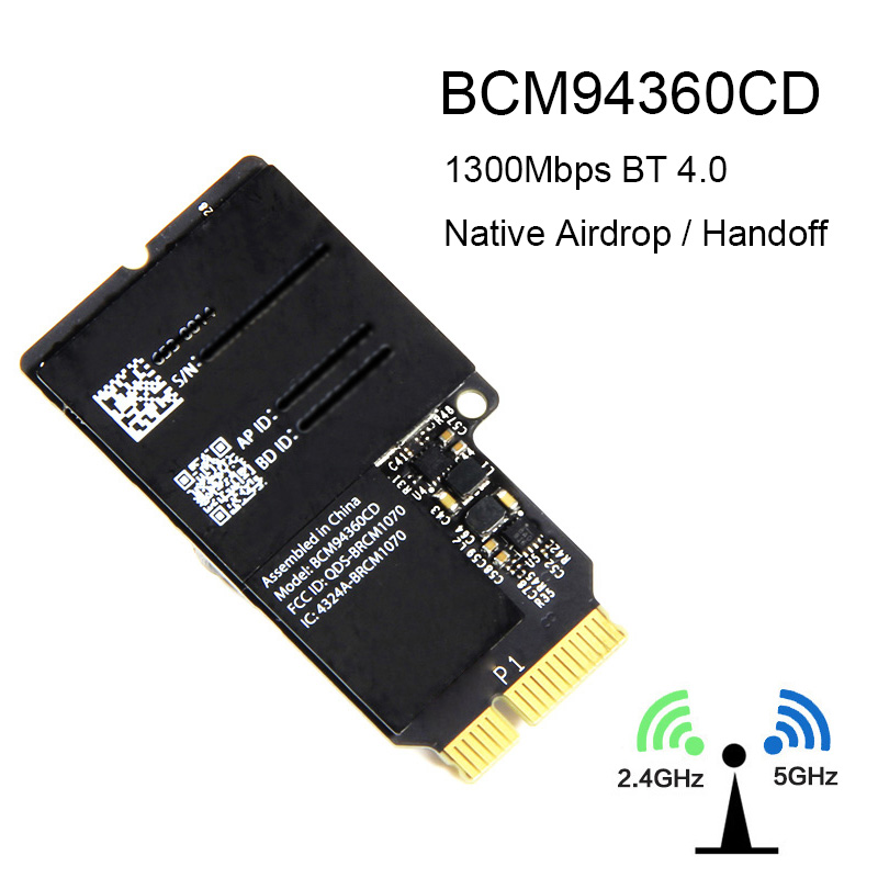 1750Mbps Dual Band WiFi Bluetooth Card 2.4GHz/5GHz BT 4.0 Broadcom BCM94360CD Wireless Module For Apple Hackintosh Mac OS