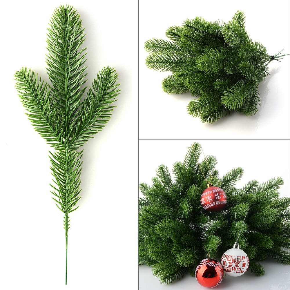 Plastic Christmas Tree.Us 6 82 20 Off Artificial Pine Tree Branches Plastic Pine Leaves For Christmas Party Decoration Faux Foliage Fake Flower Diy Craft Wreath In