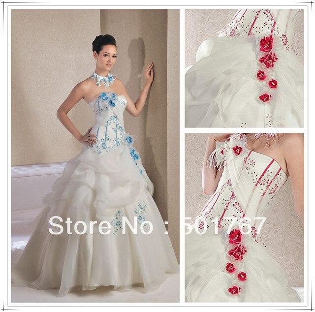 2013 neue designer weiß hochzeitskleid rote rosen in 2013 neue ...