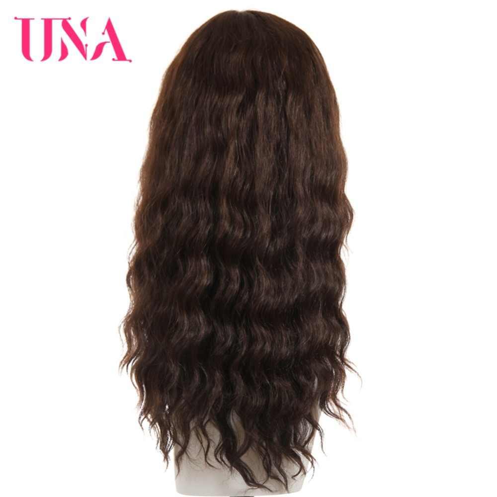"""UNA человеческие волосы парики для женщин длинные глубокие волны T часть парики с невидимой сеточкой 120% густые натуральные волосы парики не малайзийские волосы парики 18"""""""