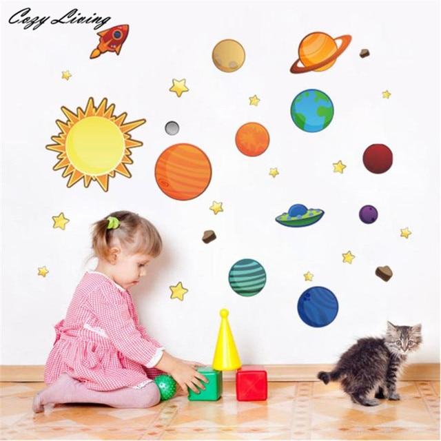 Sistema solare Pianeti Luna Wall Stickers Per Bambini Camera Da ...
