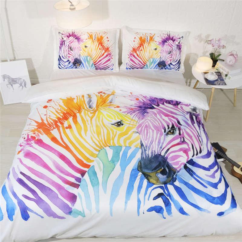 3D animal literie ensemble reine couleur zèbre housse de couette double taille lit ensemble pour enfants mignon chambre décor simple maison textile roi