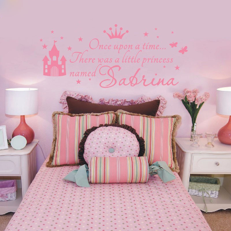 T07030 Baby Girl Nursery Wall Decals Bedroom Wall Art Home Decor Custom Princess Girl Name Decals Wall Sticker For Kids Rooms ...