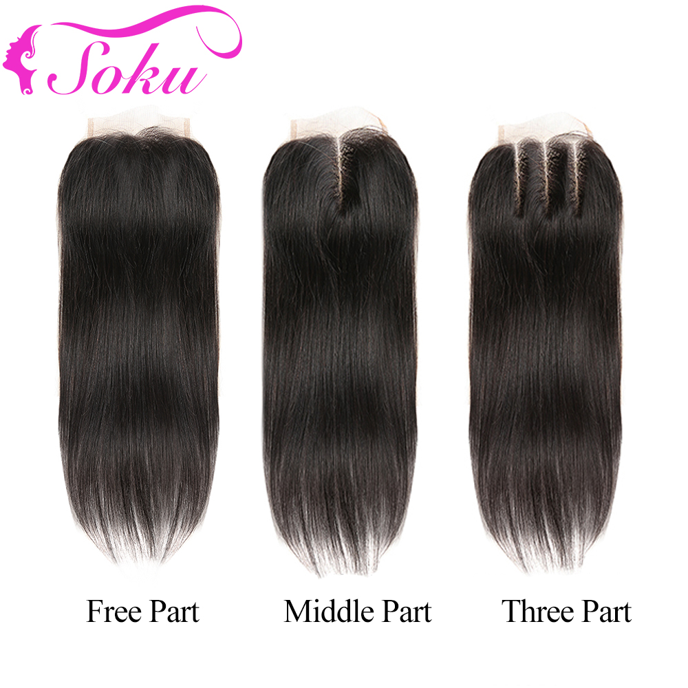 SOKU 4x4 Lace Closure 8-20 Inch Brazilian Straight Human Hair Free/Middle/Three Part Lace Closure With Baby Hair Non-Remy Hair