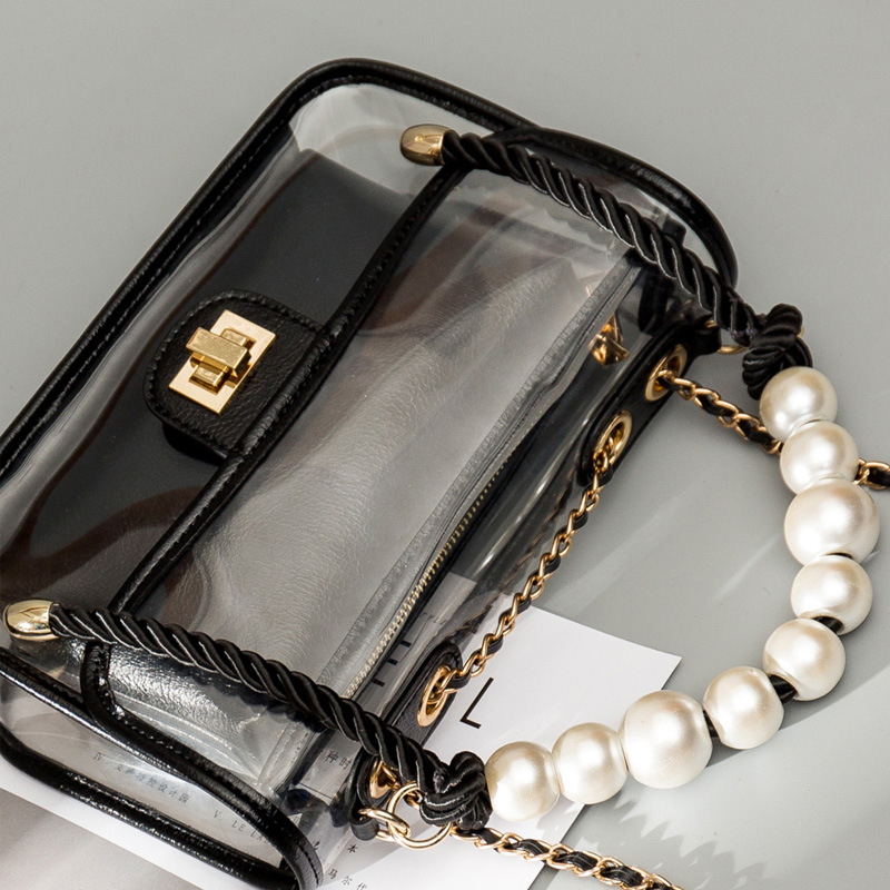 Luxury Handbags Women Bags Designer PVC Summer Beach Transparent Jelly Bag Lady Clear Pearl Crossbody Hand Bags for Women 2019 in Top Handle Bags from Luggage Bags