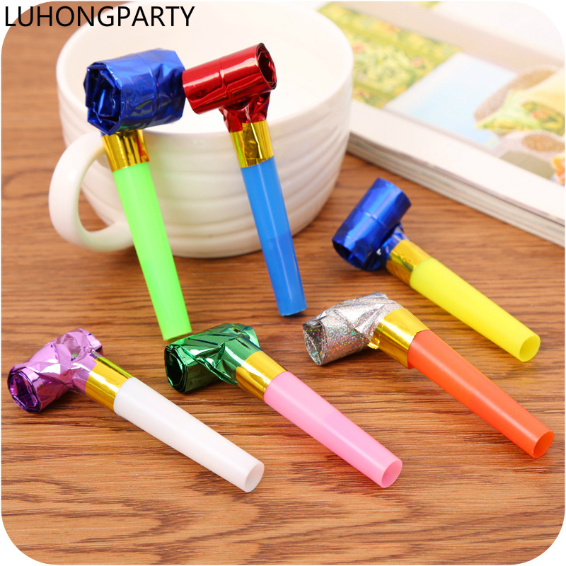 12pcs Funny Colorful Whistles Kids Childrens Birthday Party Blowing Dragon Blowout Baby Birthday Supply gifts LUHONGPARTY