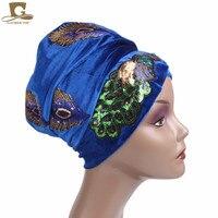 5 unids/ventas al por mayor Nueva Elegante Lentejuelas Pavo Real Bordado Extra Larga de Terciopelo Turbante Head Wrap Estilo Nigeriano Turbante Mujeres de África