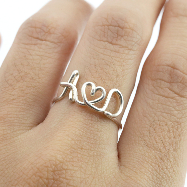 PINJEAS Custom DIY Name Initial Letter Rings Handmade Lovers