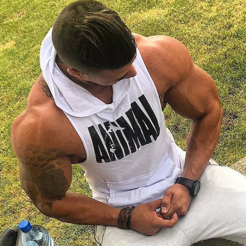 Men Bodybuilding Cotton Tank top Gyms Fitness Hooded Vest Sleeveless Shirt Summer Casual Fashion Workout Brand Clothing 37