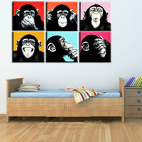 191 6Pcs Combined Smile Monkey Face Oil Painting Alec Monopoly And Andywarhol Poster Printed Wall Art