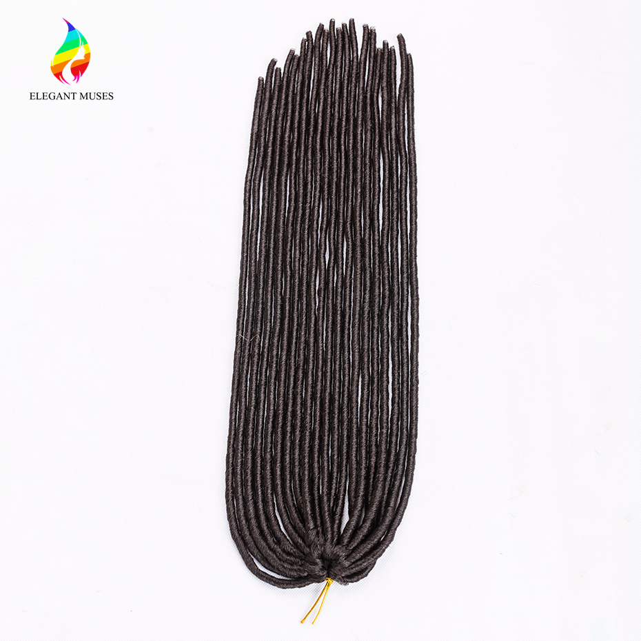 ELEGANT MUSES Hair Products 3pcs 20'' Synthetic Fiber Braiding Hair Extensions Faux Locs Crochet Braids Hair 20strands/pack