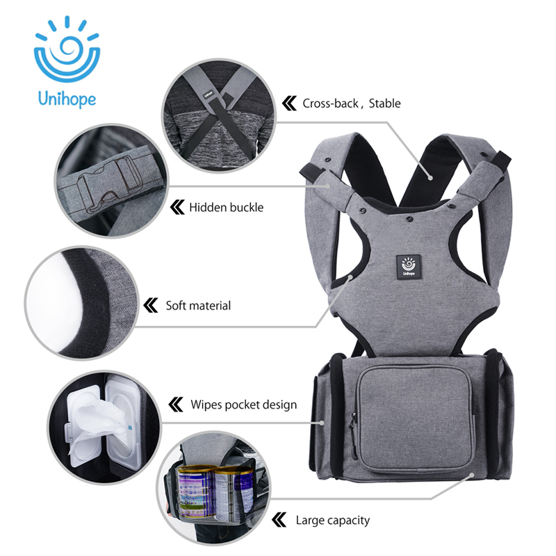Unihope Baby Carrier Ergonomic Carrier Backpack Hipseat Storage bags for newborn prevent o type legs sling