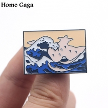 Homegaga The Great Wave off Kanagawa Zinc tie Pins backpack clothes brooches for men women hat decoration badges medals D1615