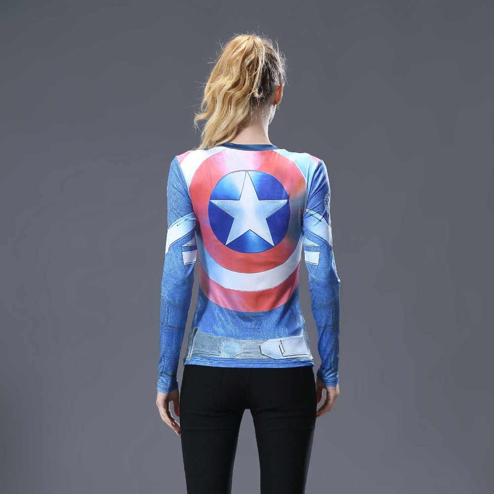 Kadın T-shirt vücut Marvel kostüm superman/batman T gömlek uzun kollu kız spor tayt sıkıştırma gömlek artı boyutu