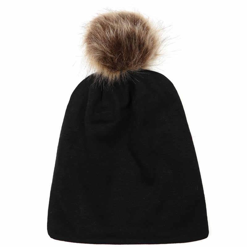 2018 ใหม่มาถึงเด็กอบอุ่นหมวก Faux Fur หมวกเด็กผ้าฝ้าย Pompom สำหรับเด็กฤดูหนาวเด็กสาวหมวกประดิษฐ์ขนสัตว์หมวกเด็ก