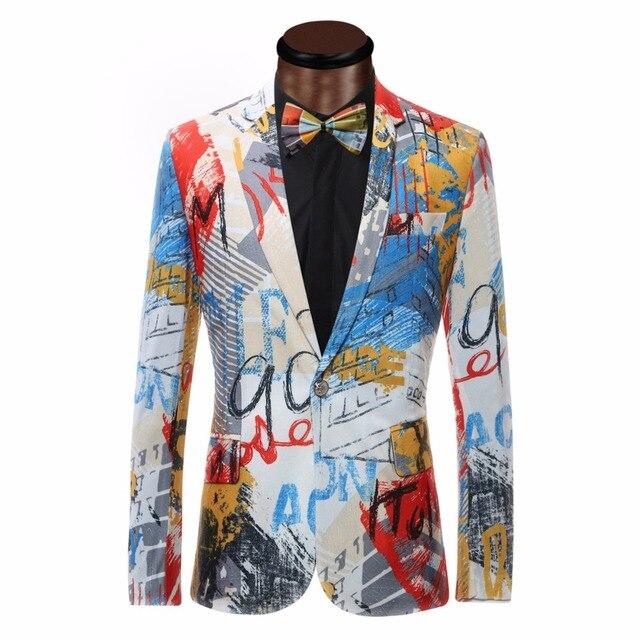 Роскошный Цвет Живопись Мужские Блейзер Мода Костюмы Для Мужчин Топ качество Блейзер Slim Fit Куртка Пиджаки Пальто Костюм Homme Blazer мужчины