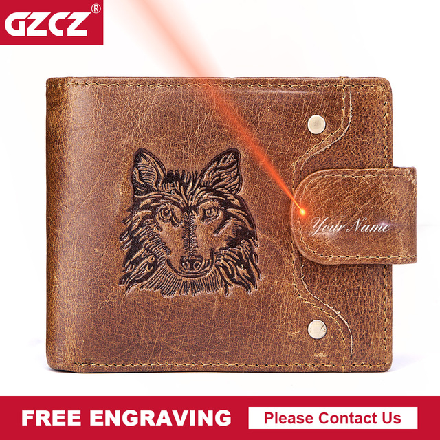 US $26 63 |GZCZ Free Engraving Men Wallet Vintage Leather Wallet Short  Printing Coin Purse Male Purse Card Holder Clamp For Money Money Bag-in  Wallets
