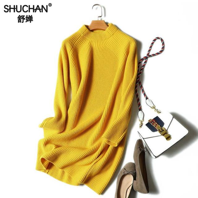 SHUCHAN Sweater Dress Women Autumn Winter 2018 Cashmere Long Sleeve Women Knitted Mini Dress Vestido De Festa mini 17666